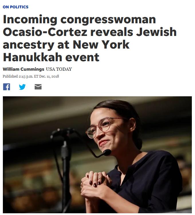 USA Today: Incoming congresswoman Ocasio-Cortez reveals Jewish ancestry at New York Hanukkah event