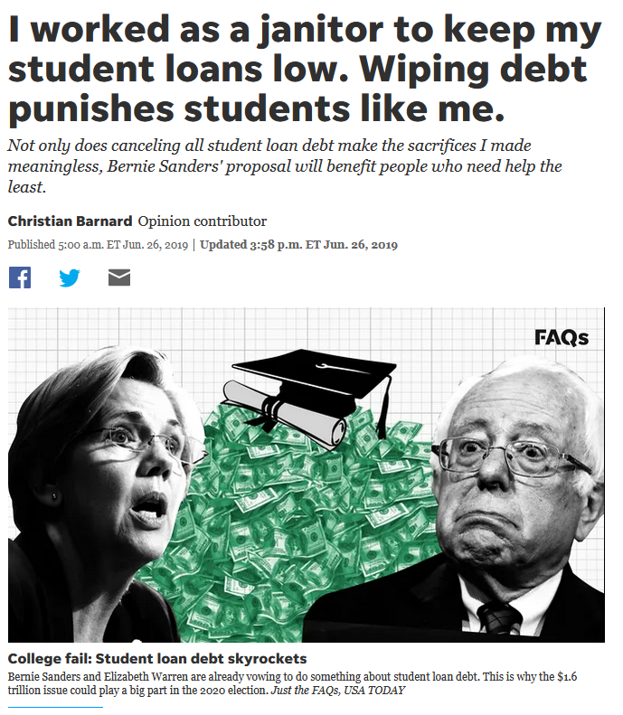 USA Today: I worked as a janitor to keep my student loans low. Wiping debt punishes students like me.
