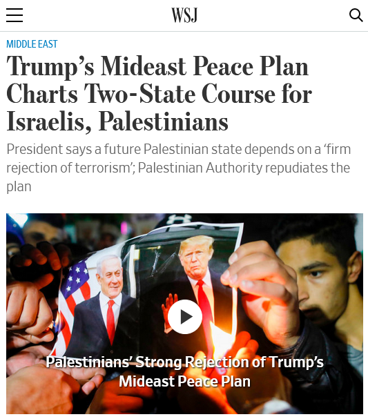 WSJ: Trump's Mideast Peace Plan Charts Two-State Course for Israelis, Palestinians