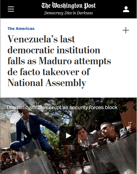 WaPo: Venezuela's last democratic institution falls as Maduro attempts de facto takeover of National Assembly
