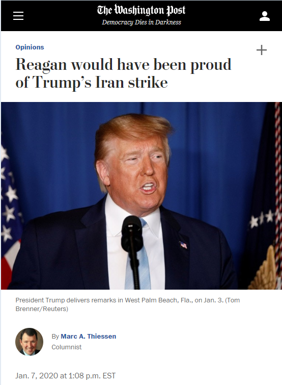 WaPo: Reagan would have been proud of Trump's Iran strike