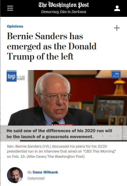 WaPo: Bernie Sanders has emerged as the Donald Trump of the left
