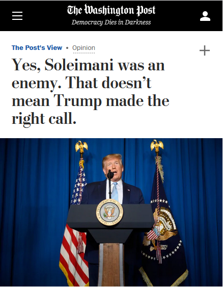 WaPo: Yes, Soleimani was an enemy. That doesn't mean Trump made the right call.