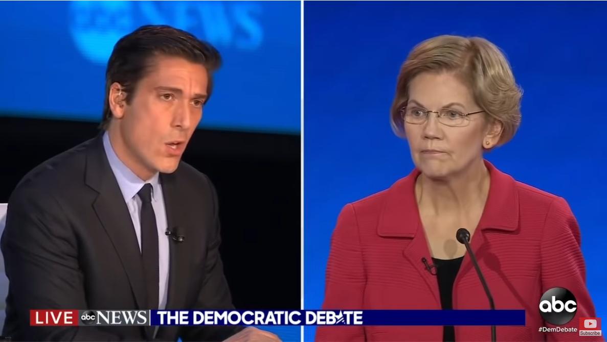 ABC's David Muir and Elizabeth Warren