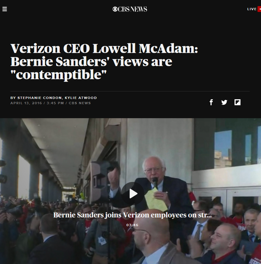 "CBS: Verizon CEO Lowell McAdam: Bernie Sanders' views are ""contemptible"""