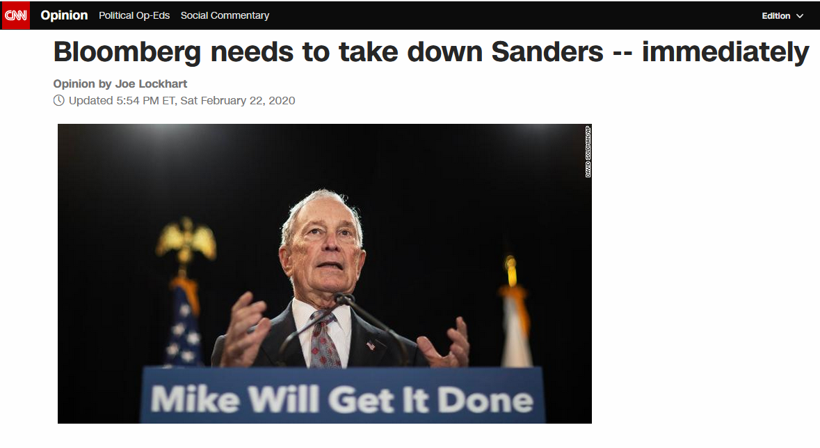 CNN: Bloomberg needs to take down Sanders -- immediately