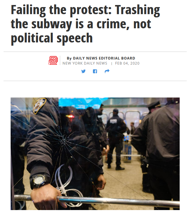 Daily News: Failing the protest: Trashing the subway is a crime, not political speech