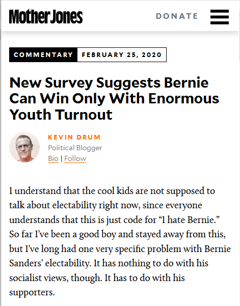 Mother Jones: New Survey Suggests Bernie Can Win Only With Enormous Youth Turnout