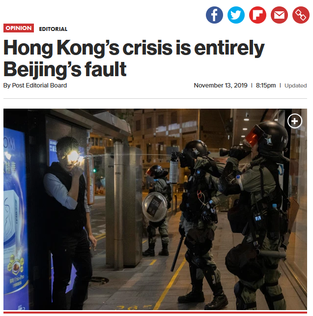NY Post: Hong Kong's crisis is entirely Beijing's fault