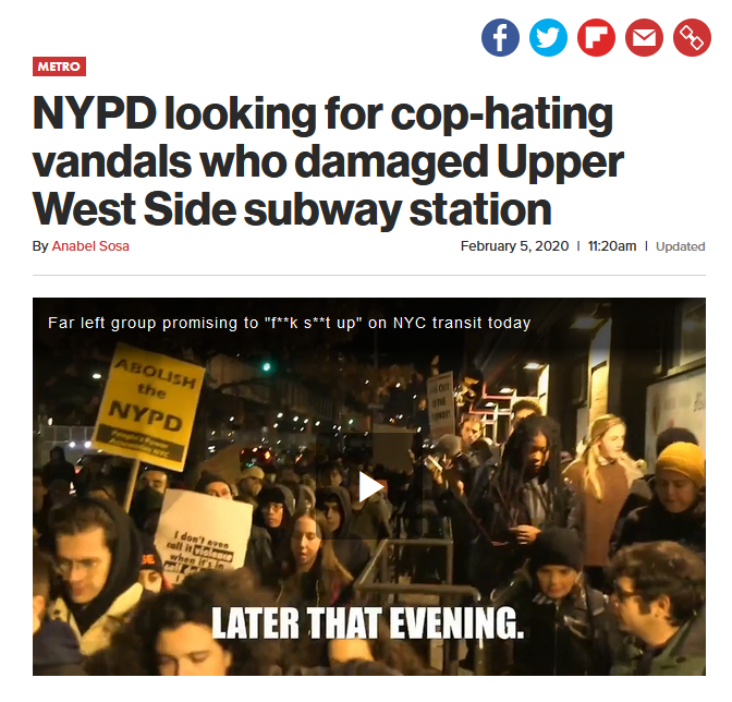 NY Post: NYPD looking for cop-hating vandals who damaged Upper West Side subway station