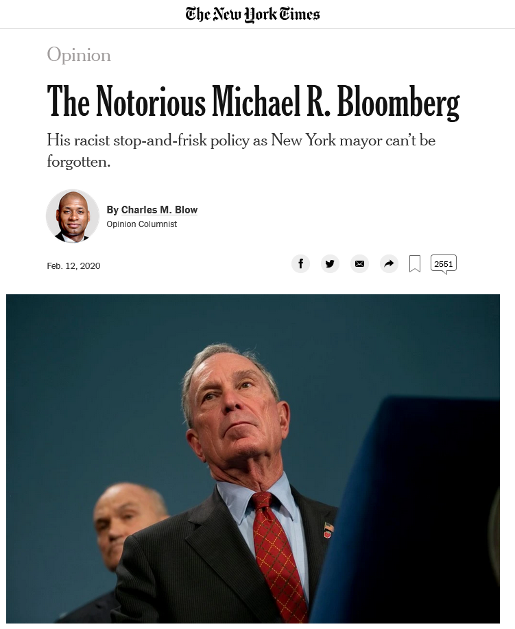 NYT: The Notorious Michael R. Bloomberg