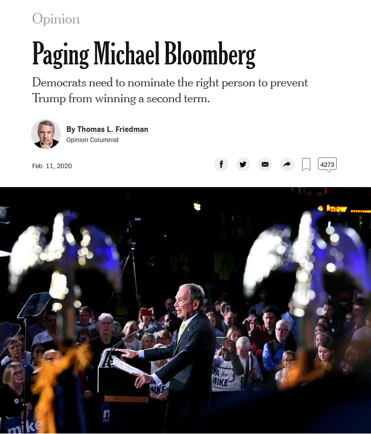 NYT: Paging Michael Bloomberg