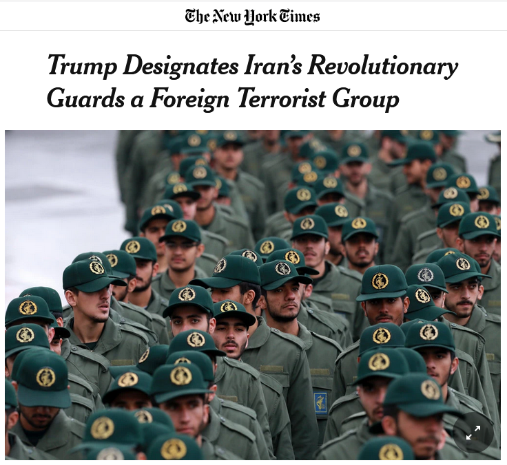 NYT: Trump Designates Iran's Revolutionary Guards a Foreign Terrorist Group