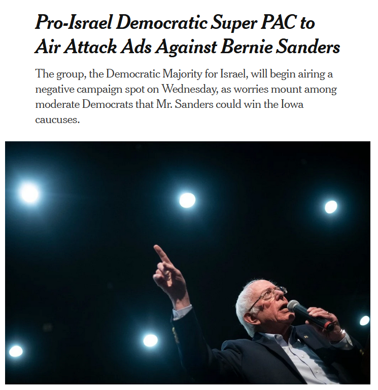 NYT: Pro-Israel Democratic Super PAC to Air Attack Ads Against Bernie Sanders