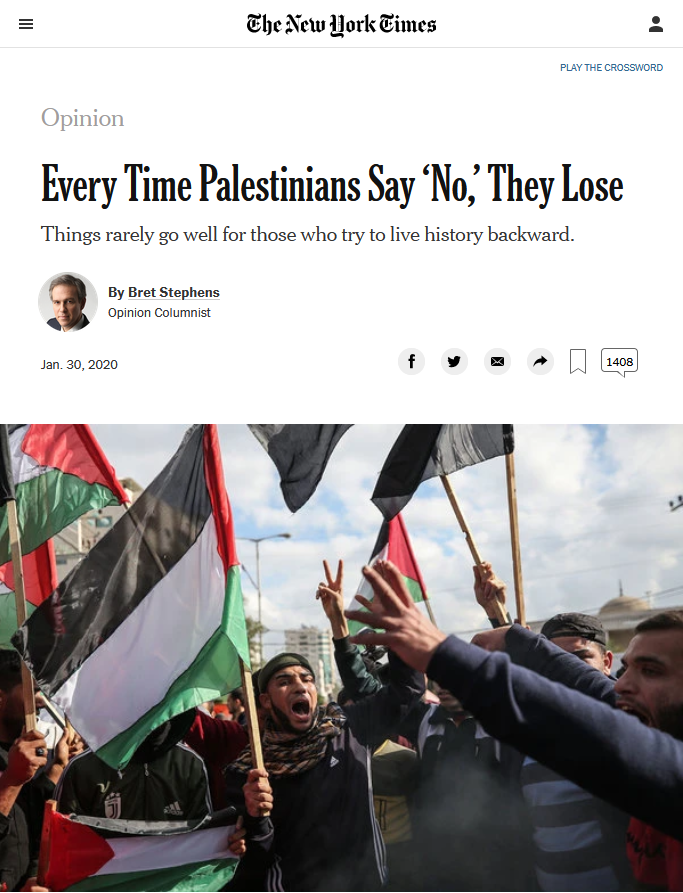 NYT: Every Time Palestinians Say 'No,' They Lose