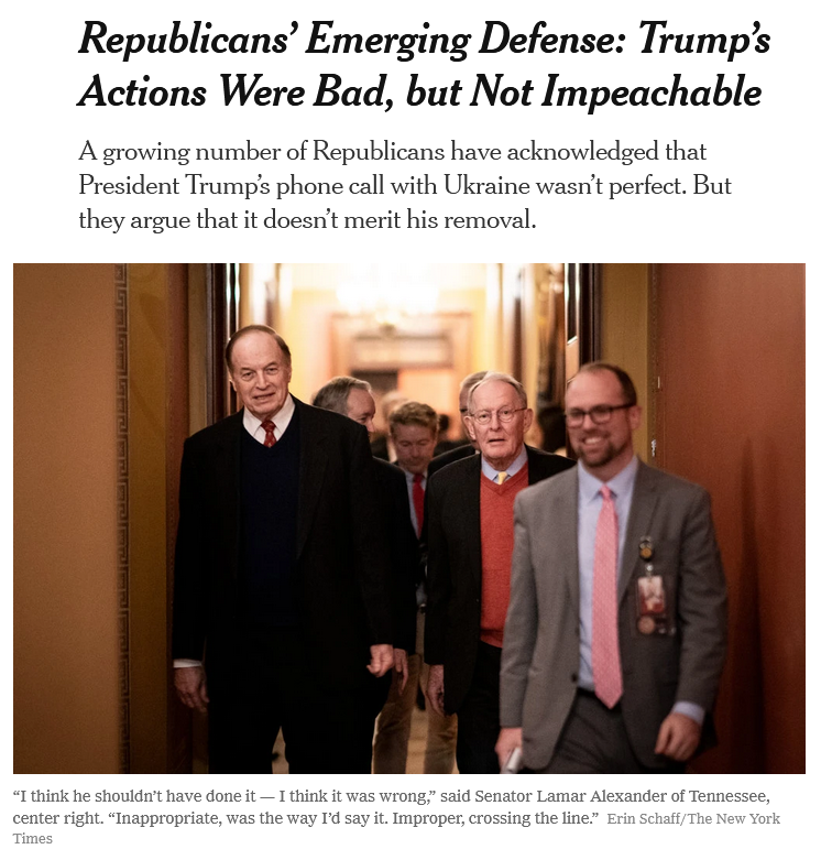 NYT: Republicans' Emerging Defense: Trump's Actions Were Bad, but Not Impeachable