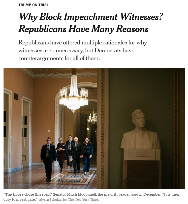 NYT: Why Block Impeachment Witnesses? Republicans Have Many Reasons