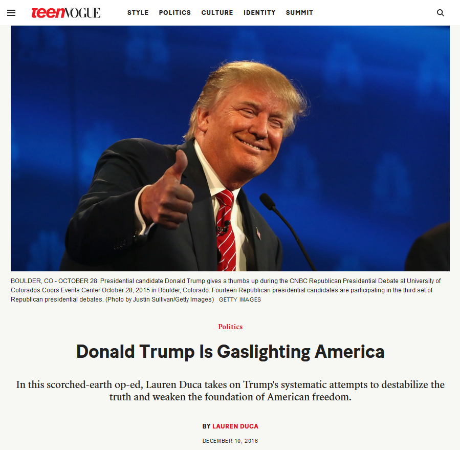 Teen Vogue: Donald Trump Is Gaslighting America