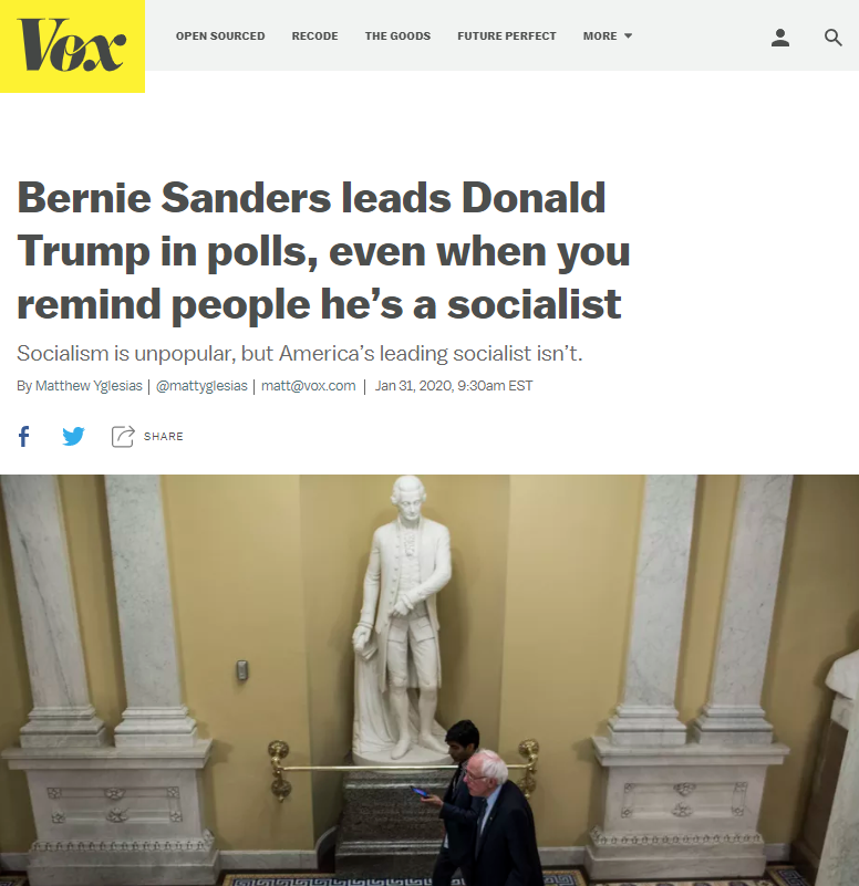 Vox: Bernie Sanders leads Donald Trump in polls, even when you remind people he's a socialist