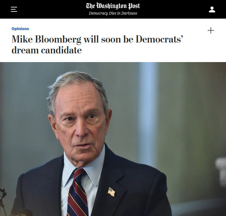 WaPo: Mike Bloomberg will soon be Democrats' dream candidate