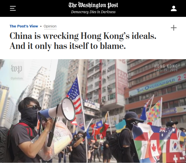 WaPo: China is wrecking Hong Kong's ideals. And it only has itself to blame.