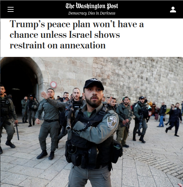 WaPo: Trump's peace plan won't have a chance unless Israel shows restraint on annexation