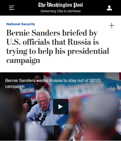 WaPo: Bernie Sanders briefed by U.S. officials that Russia is trying to help his presidential campaign