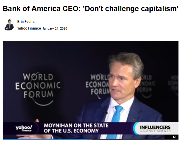Yahoo: Bank of America CEO: 'Don't challenge capitalism'