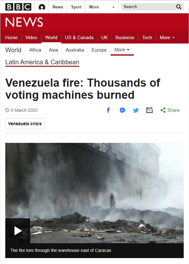 BBC: Venezuela fire: Thousands of voting machines burned