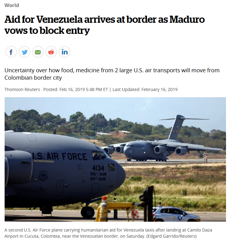 CBC: Aid for Venezuela arrives at border as Maduro vows to block entry