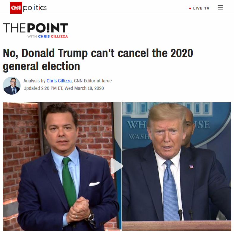 CNN: No, Donald Trump can't cancel the 2020 general election