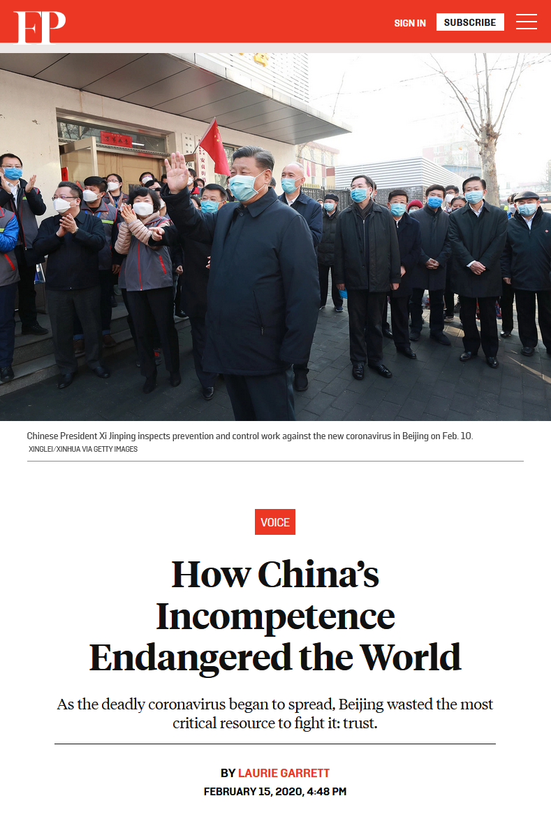 Foreign Policy: How China's Incompetence Endangered the World