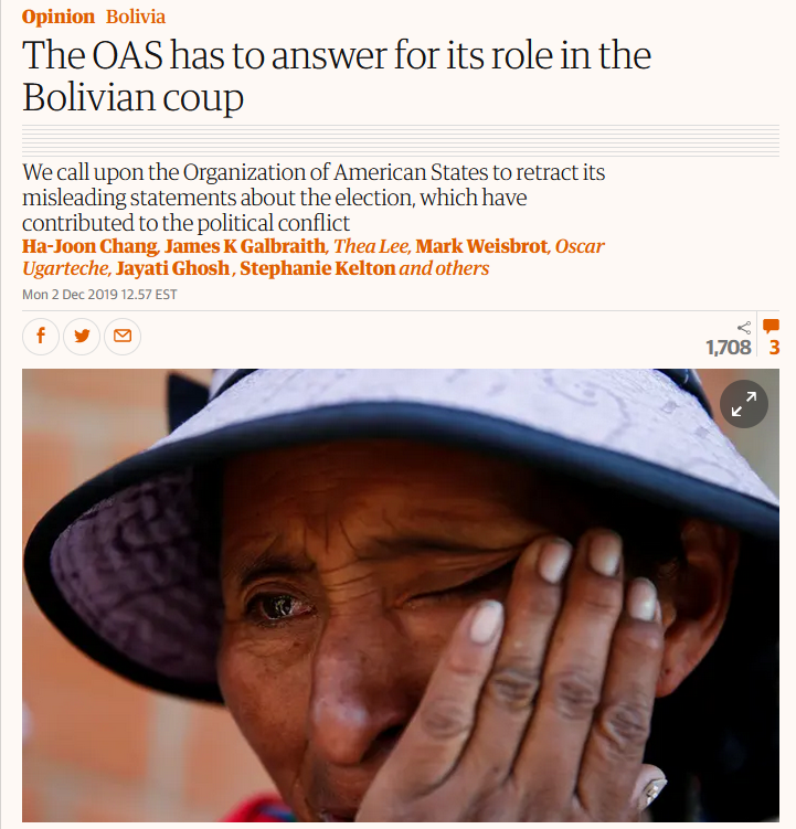 Guardian: The OAS has to answer for its role in the Bolivian coup