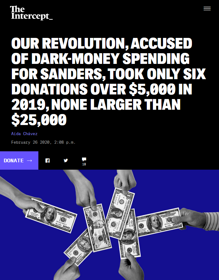 Intercept: Our Revolution, Accused of Dark-Money Spending for Sanders, Took Only Six Donations Over $5,000 in 2019, None Larger than $25,000