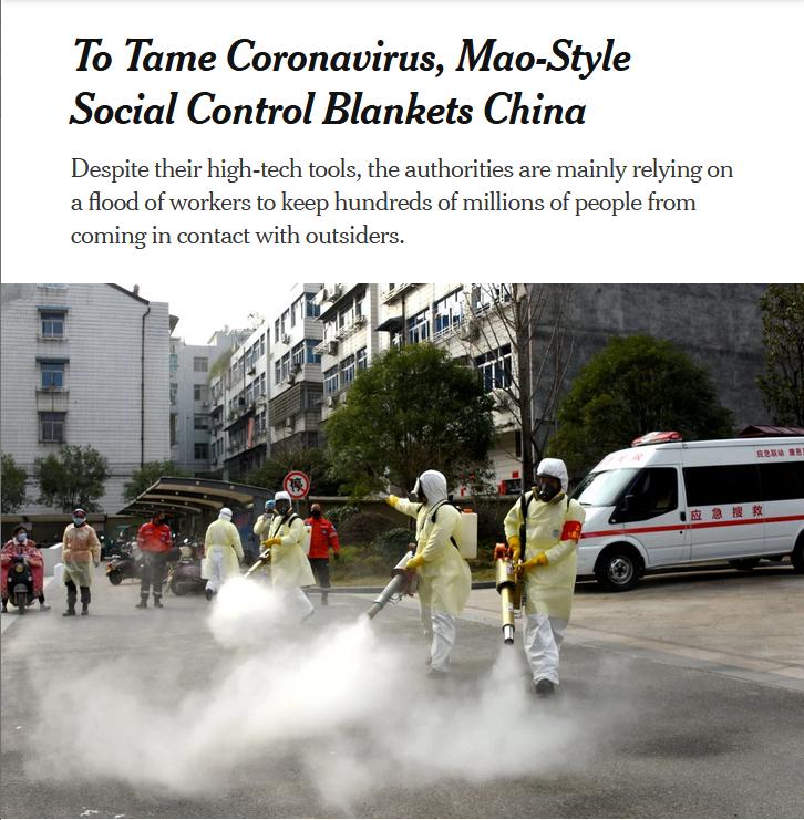 NYT: To Tame Coronavirus, Mao-Style Social Control Blankets China