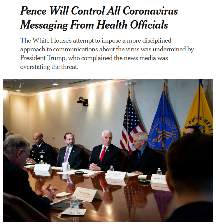 NYT: Pence Will Control All Coronavirus Messaging From Health Officials