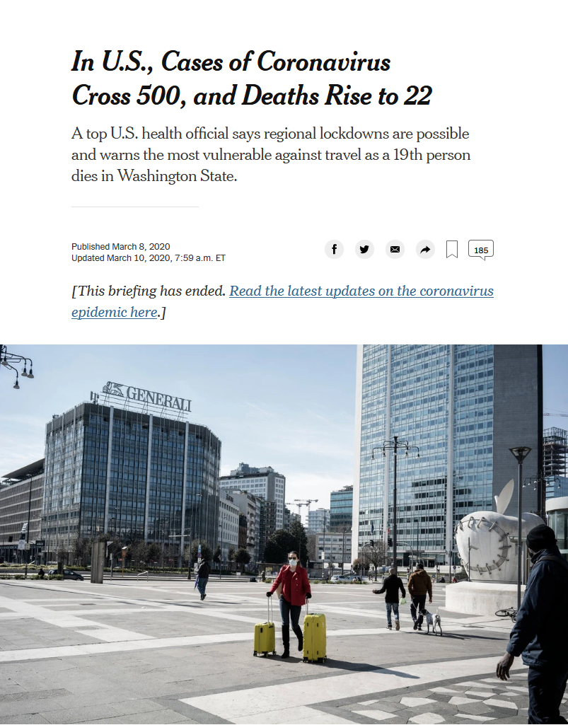 NYT: In U.S., Cases of Coronavirus Cross 500, and Deaths Rise to 22
