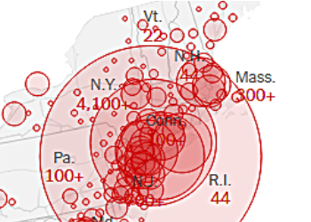 New York Times online map of Covid-19 outbreak, March 20 2020, 10:45 am