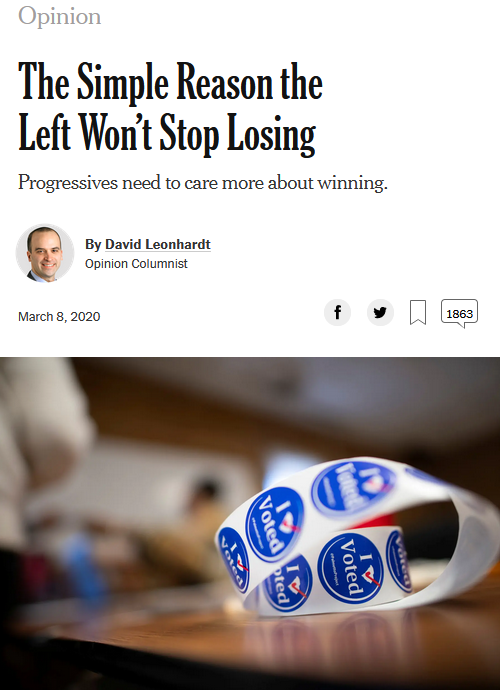NYT: The Simple Reason the Left Won't Stop Losing