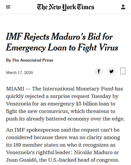 New York Times: IMF Rejects Maduro's Bid for Emergency Loan to Fight Virus