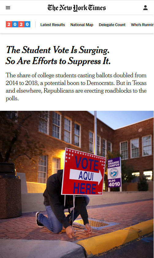 NYT: The Student Vote Is Surging. So Are Efforts to Suppress It.