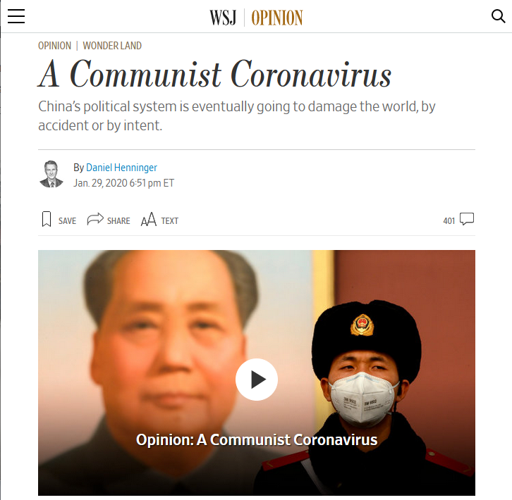 WSJ: A Communist Coronavirus