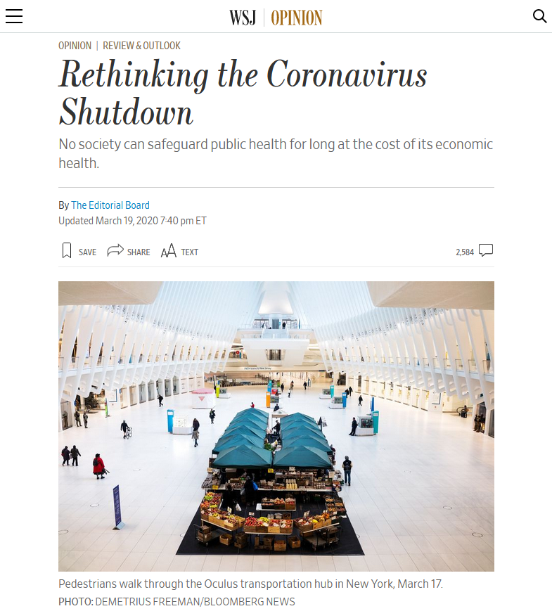 WSJ: Rethinking the Coronavirus Shutdown