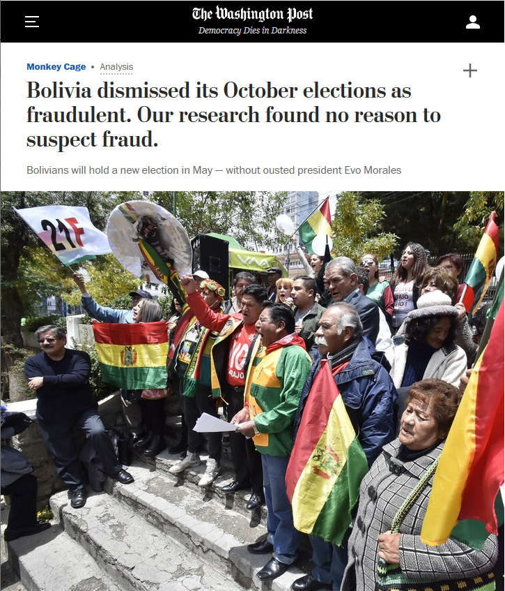 WaPo: Bolivia dismissed its October elections as fraudulent. Our research found no reason to suspect fraud.