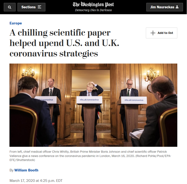 WaPo: A chilling scientific paper helped upend U.S. and U.K. coronavirus strategies