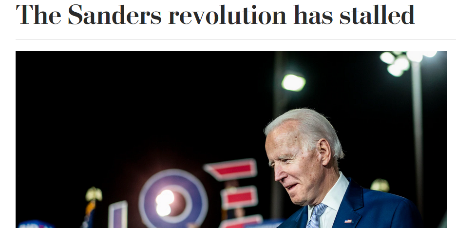 WaPo: The Sanders Revolution Has Stalled