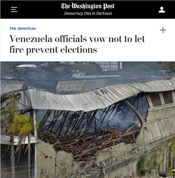 Washington Post: Venezuela officials vow not to let fire prevent elections