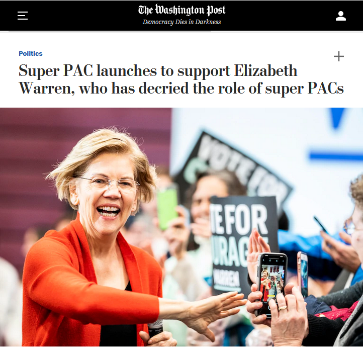 WaPo: Super PAC launches to support Elizabeth Warren, who has decried the role of super PACs