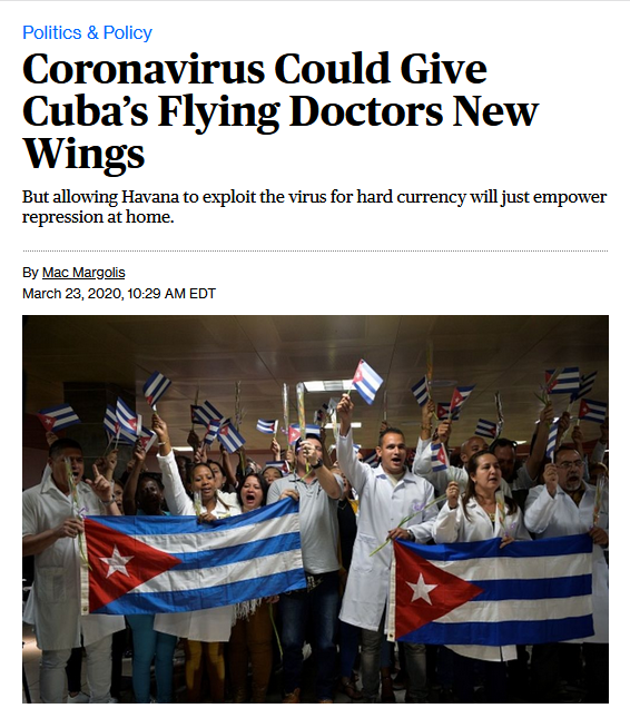 Bloomberg: Coronavirus Could Give Cuba's Flying Doctors New Wings