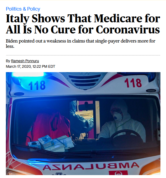 Bloomberg: Italy Shows That Medicare for All Is No Cure for Coronavirus